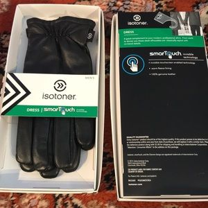 Isotoner Smart Touch Black Leather Dress Gloves